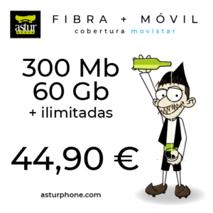 FIBRA 300 MB + MOVIL AZUL 60 GB