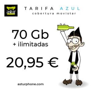 Tarifa Azul 70 GB + ilimitadas