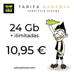 Tarifa Naranja 24 GB + ilimitadas