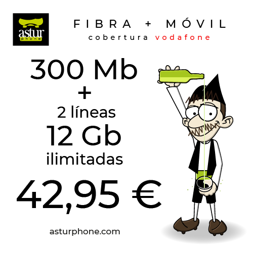FIBRA 300 + 2 LINEAS CON 12 GB E ILIMITADAS