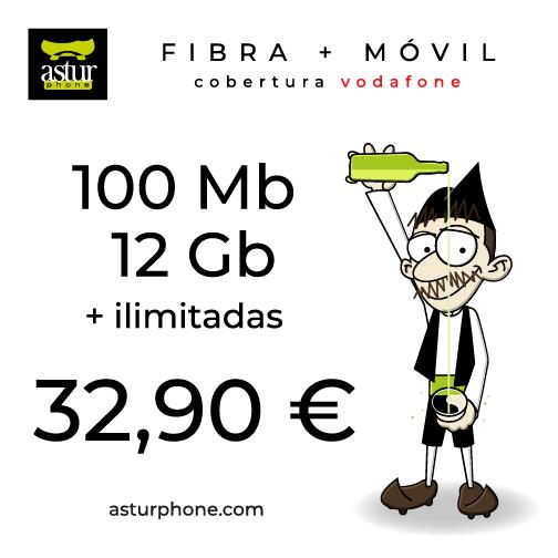 Paquete Fibra 100 MB + Móvil 12 GB ROJA