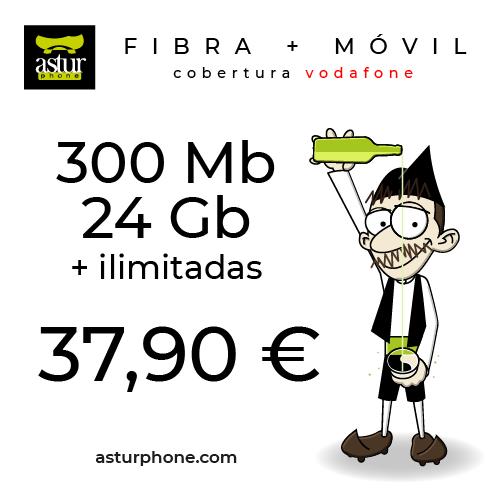 Fibra 300 MB + Movil 24 GB roja