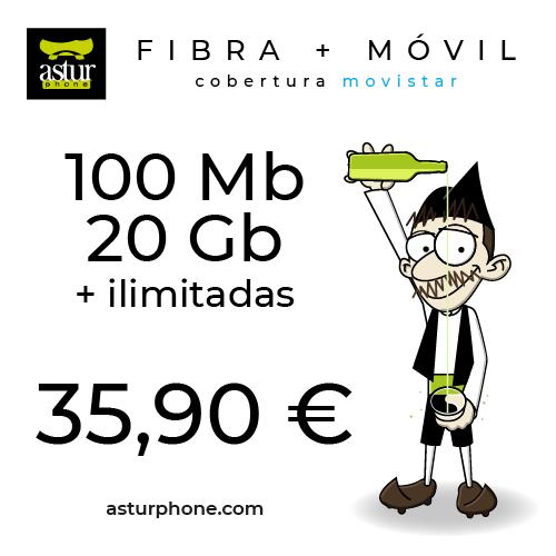 FIBRA 100 MB Y MOVIL 20 GB AZUL