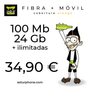 FIBRA 100 MB + MOVIL 24 GB